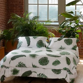 Tropical Leaves Linen Bedding By Huddleson