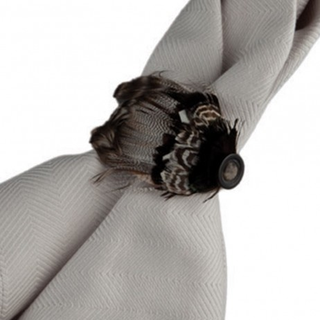 Feather Espresso Napkin Rings By Juliska